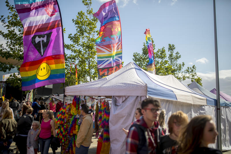 Doncaster Pride 19 Aug 2017 LGBT Festival flags and banners and. Stalls stock photography