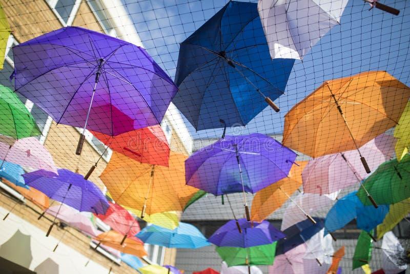 Doncaster Pride 19 Aug 2017 LGBT Festival umbrellas stock photos