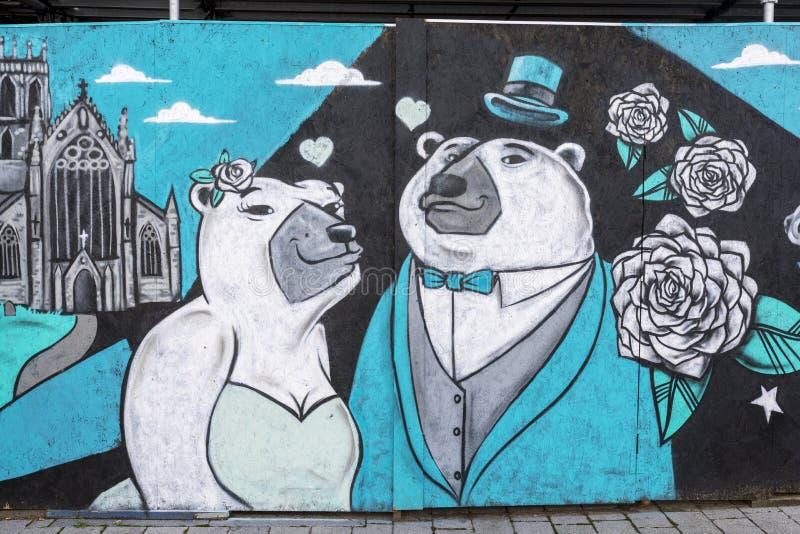 Doncaster street art mural, St Leger festival, Yorkshire Wildlife Park, polar bears, married stock photography