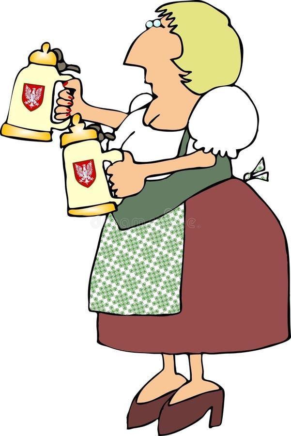 Doncella alemana de la cerveza stock de ilustración