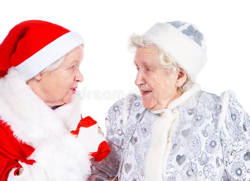 Doncella y San de la nieve de las viejas señoras foto de archivo