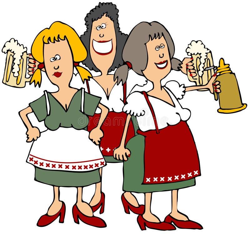 Doncellas de la cerveza de Oktoberfest stock de ilustración