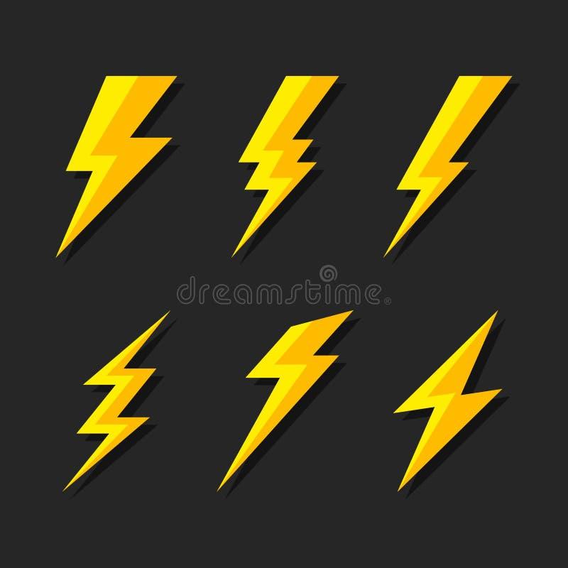 Donder en Bout Geplaatste de Pictogrammen van de Verlichtingsflits Vlakke Stijl op Donkere Achtergrond Vector royalty-vrije illustratie