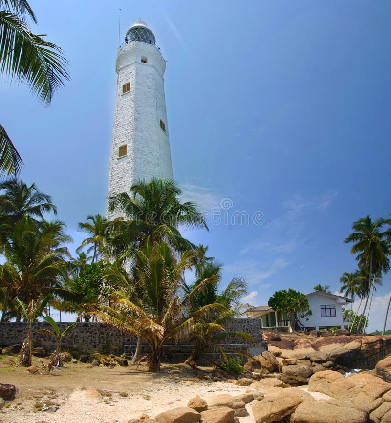 Dondra Head. Beautiful white lighthouse Dondra Head, the southest cape of Sri Lanka. The lighthouse is also a highest (161 feet) not only on the island but also royalty free stock images