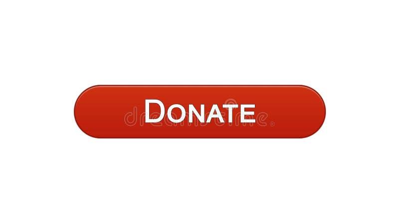 Done el color rojo de vino del botón del interfaz del web, ayuda social, fundraising en línea stock de ilustración