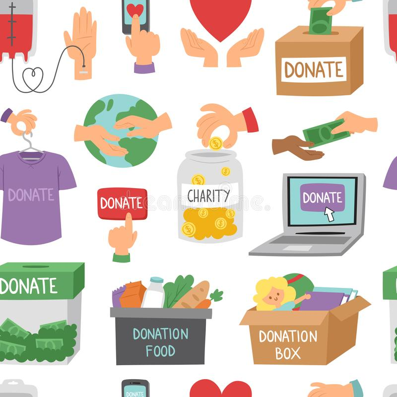 Done el fondo inconsútil del modelo del esquema del dinero de los iconos de la ayuda de los símbolos de la donación de la humanid stock de ilustración
