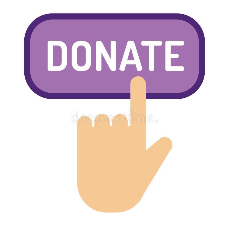 Done la ayuda de la caridad del regalo de la donación del icono de la ayuda del ejemplo del vector del botón dan el dinero que da ilustración del vector