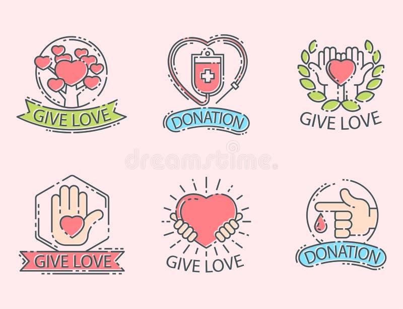 Done la contribución determinada de la donación del icono de la ayuda de los iconos del logotipo del dinero libre illustration