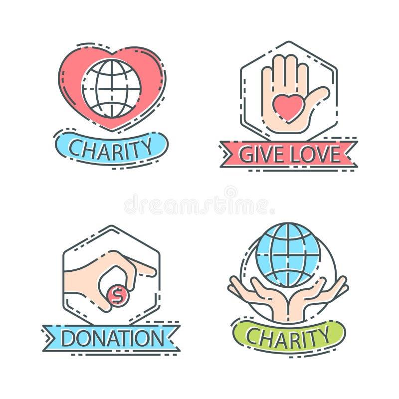 Done la donación determinada del icono de la ayuda de los iconos del logotipo del dinero stock de ilustración