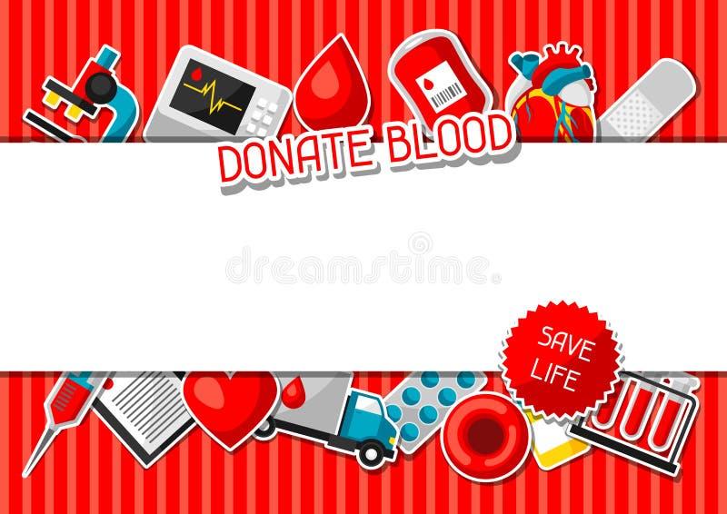 Done la sangre Fondo con los artículos de la donación de sangre Objetos médicos y de la atención sanitaria de la etiqueta engomad stock de ilustración