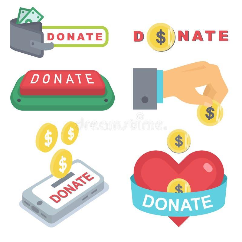 Done los botones fijados Donaci?n del icono de la ayuda stock de ilustración