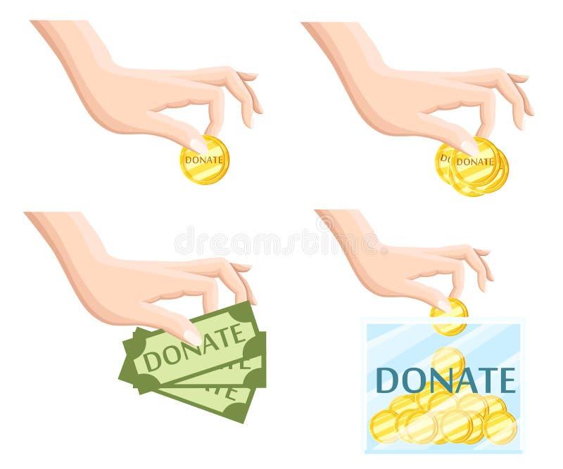 Done los iconos planos de la organización de la caridad de los símbolos de la ayuda fijados del ejemplo aislado extracto de la co ilustración del vector
