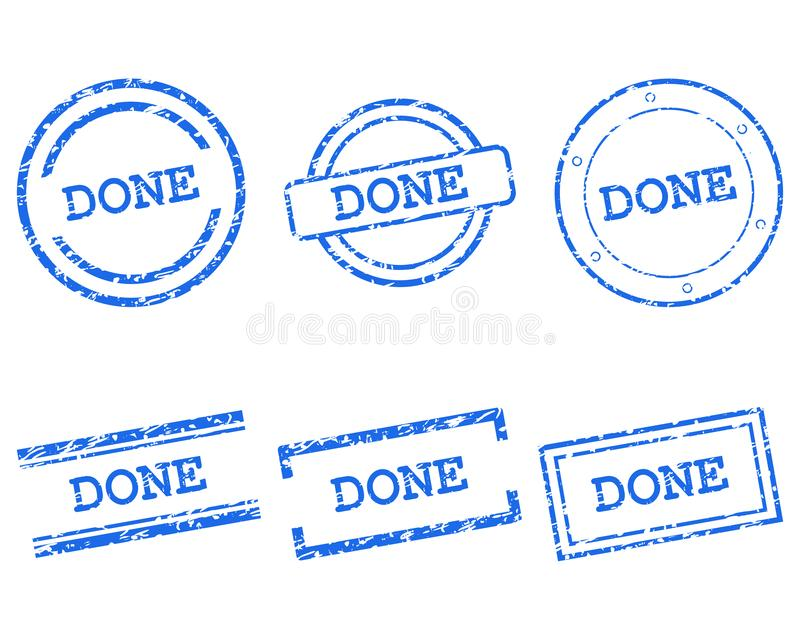 Done stamps. As vector illustration royalty free illustration