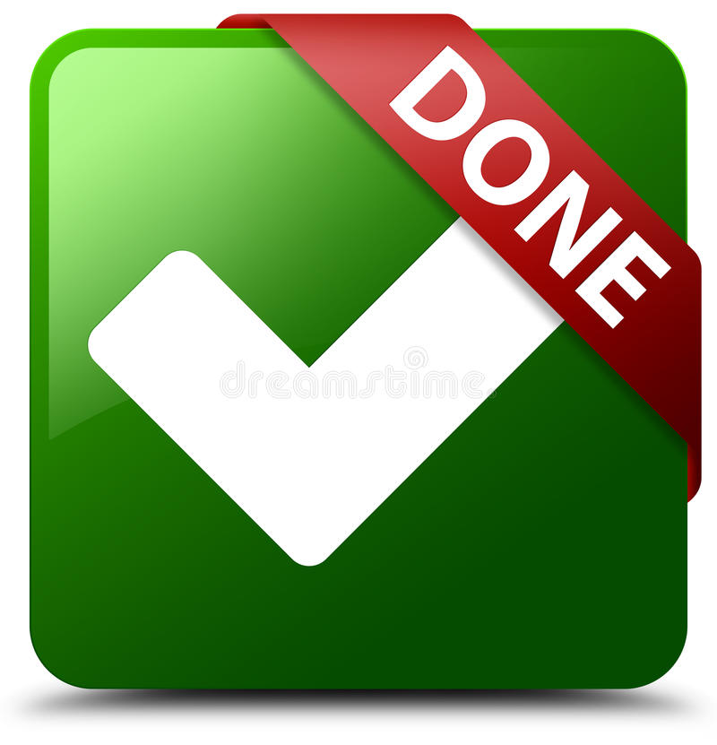 Done validate icon green square button stock illustration