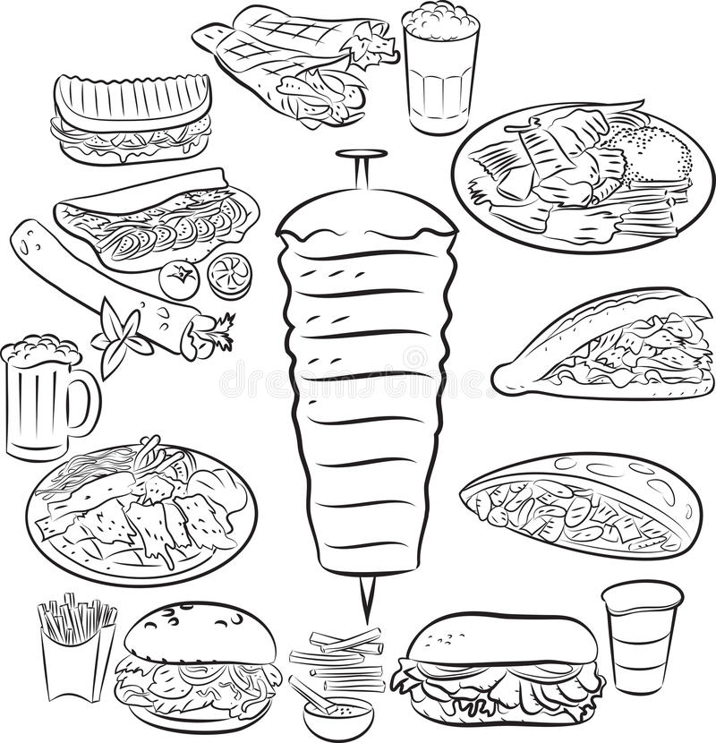 doner παραδοσιακός Τούρκος τροφίμων kebab διανυσματική απεικόνιση
