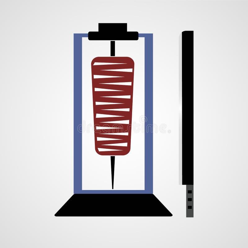 Doner e ícone liso isolado kabab ilustração stock