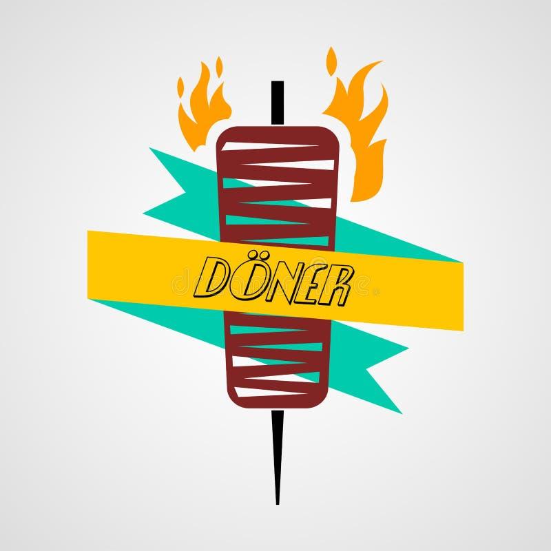 Doner e ícone liso isolado kabab ilustração do vetor