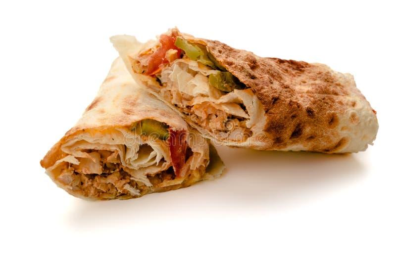 Doner Kebab电罗经Shawarma用肉,沙拉,葱,蕃茄 库存图片