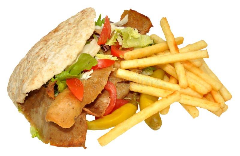 Doner Kebab και τηγανητά στοκ εικόνα