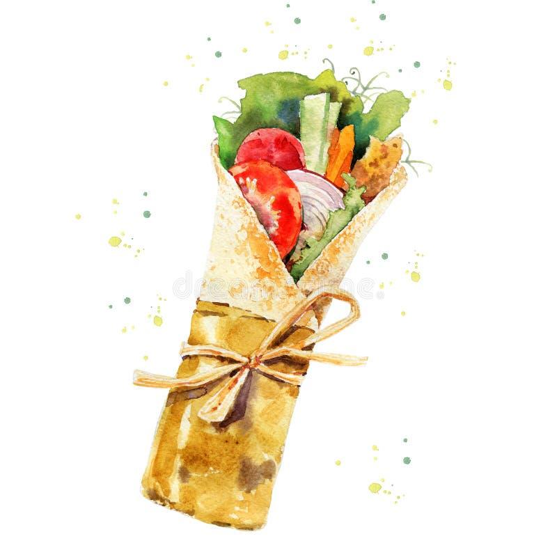 Doner kebab - shawarma odizolowywający na białym tle Opakunek z sałatą, pomidorem, ogórkiem, marchewką i cebulą, R?ka ilustracja wektor