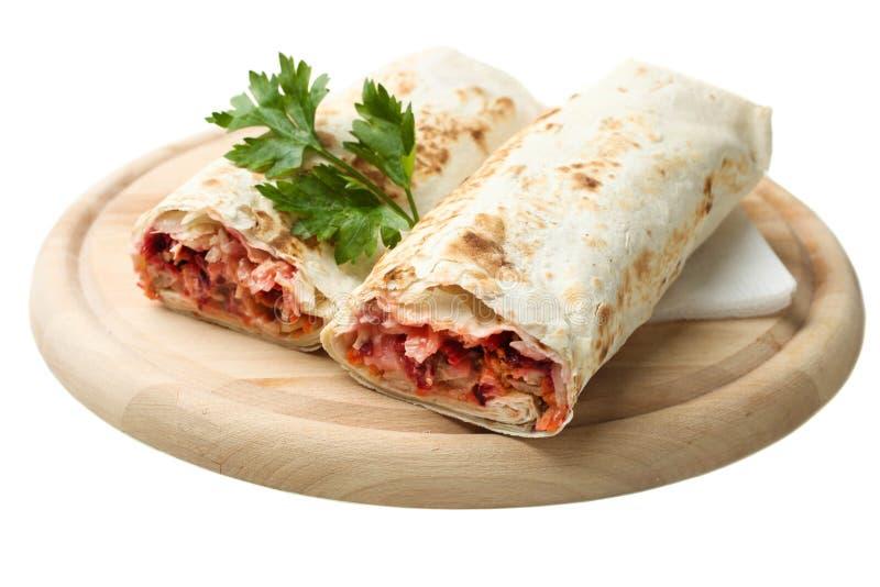 Doner kebab, shawarma w pita i pietruszka, obrazy royalty free