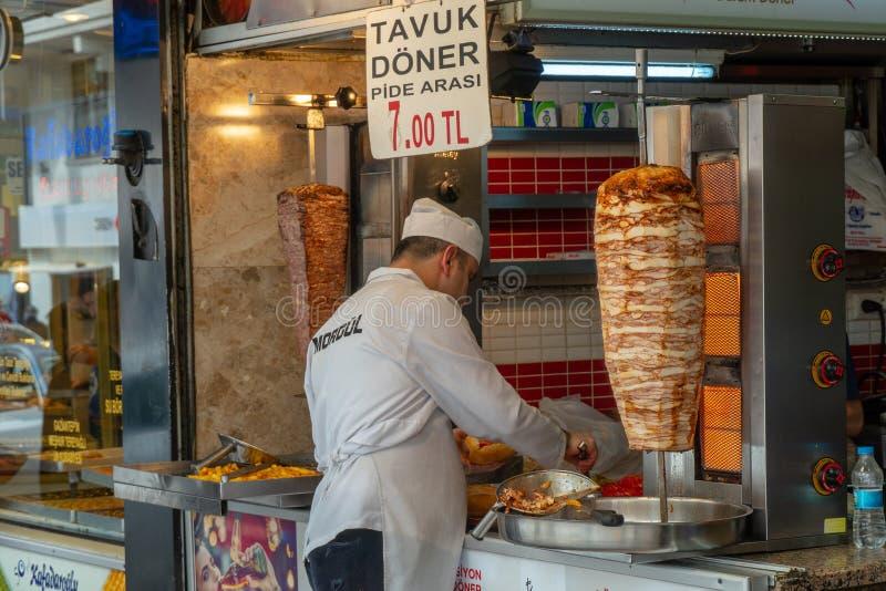 Carving Turkish doner kebab stock photo