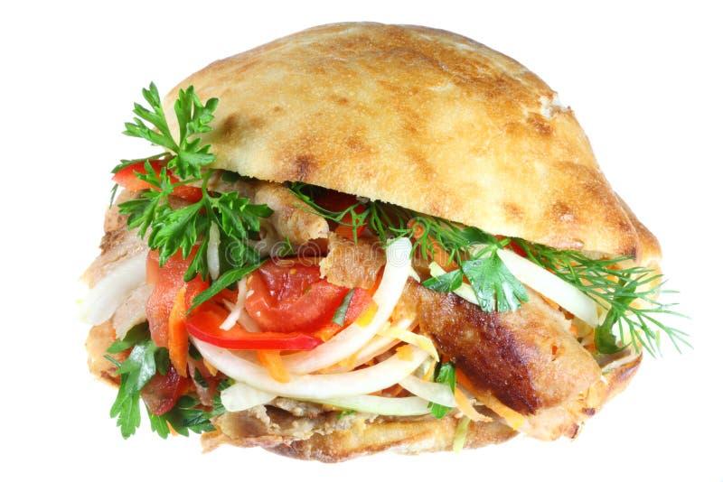 Download Doner kebab on white. stock photo. Image of dinner, asian - 5744988