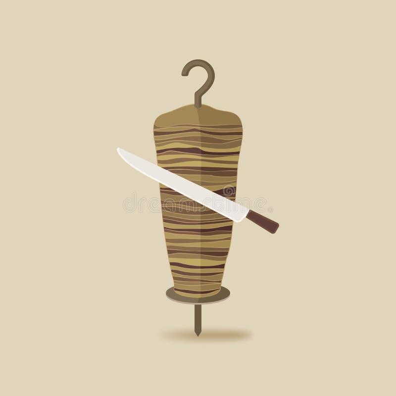 Doner kebab z nożowym starym tłem royalty ilustracja