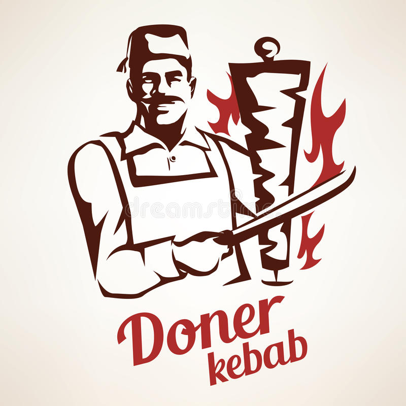 Doner kebabillustration royaltyfri illustrationer