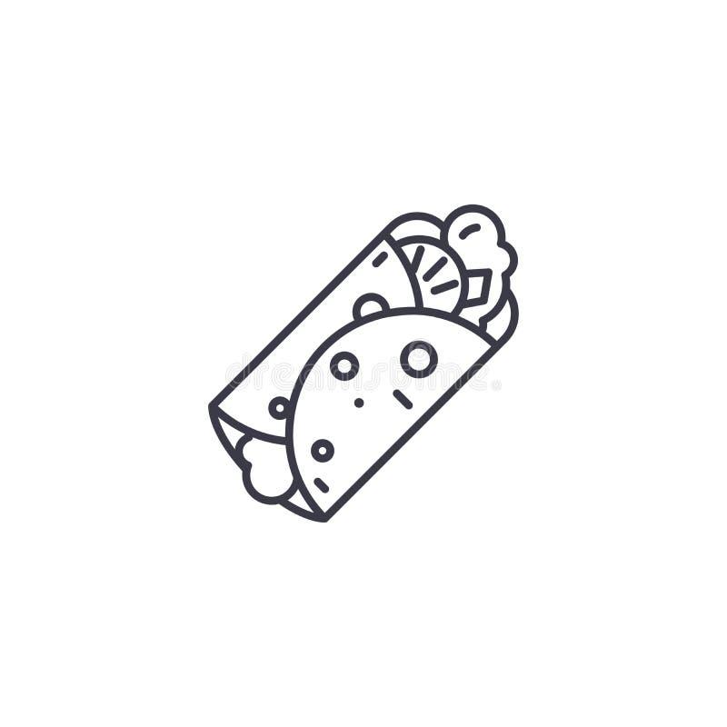Doner kebabu ikony liniowy pojęcie Doner kebabu linii wektoru znak, symbol, ilustracja ilustracja wektor