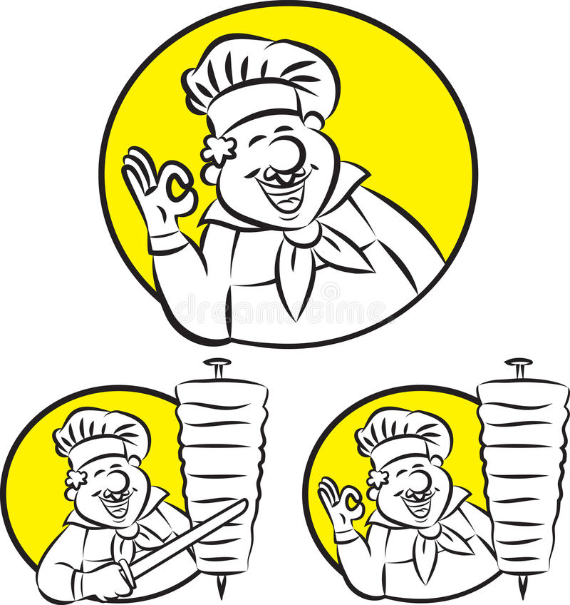 Doner kebabu kucharz ilustracja wektor