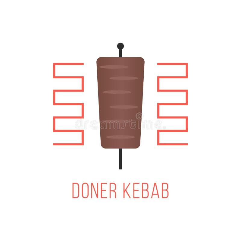 Doner kebabu logo odizolowywający na białym tle royalty ilustracja