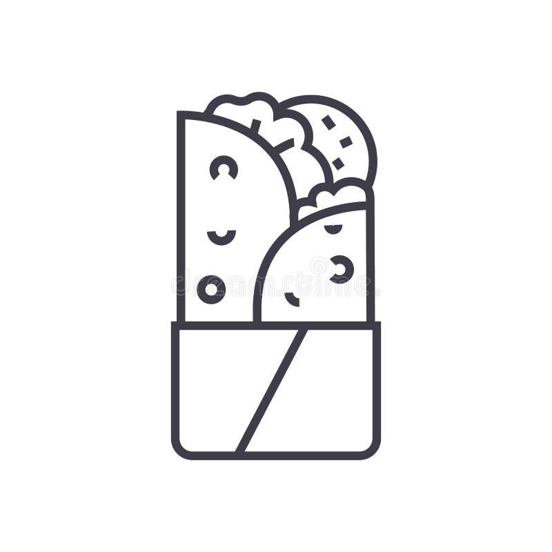 Doner kebabu wektoru linii ikona, znak, ilustracja na tle, editable uderzenia ilustracja wektor