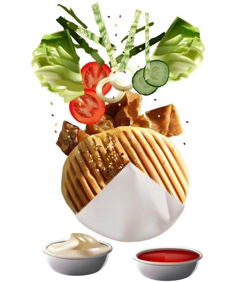 Doner turc grillé Kebab illustration stock