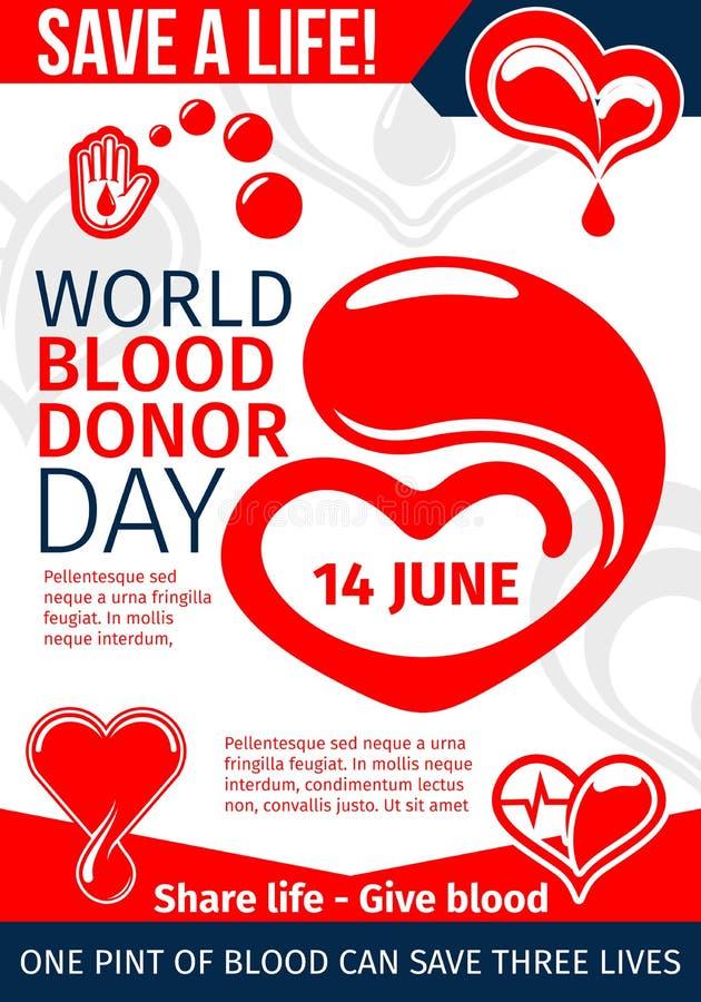 Donera blod och spara den medicinska banerdesignen för liv royaltyfri illustrationer