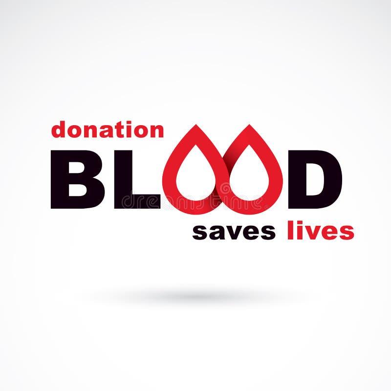 Donera blodinskriften som isoleras på vit Begreppsmässigt räddningliv royaltyfri illustrationer