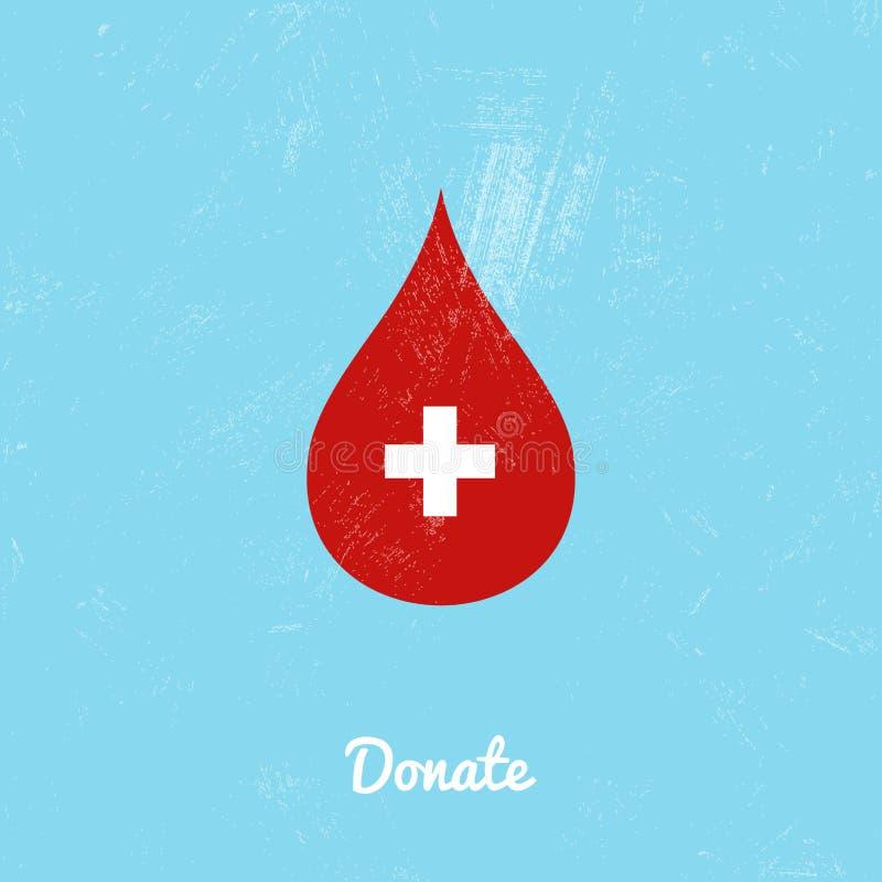Donera blodpåsen på blå bakgrund stock illustrationer