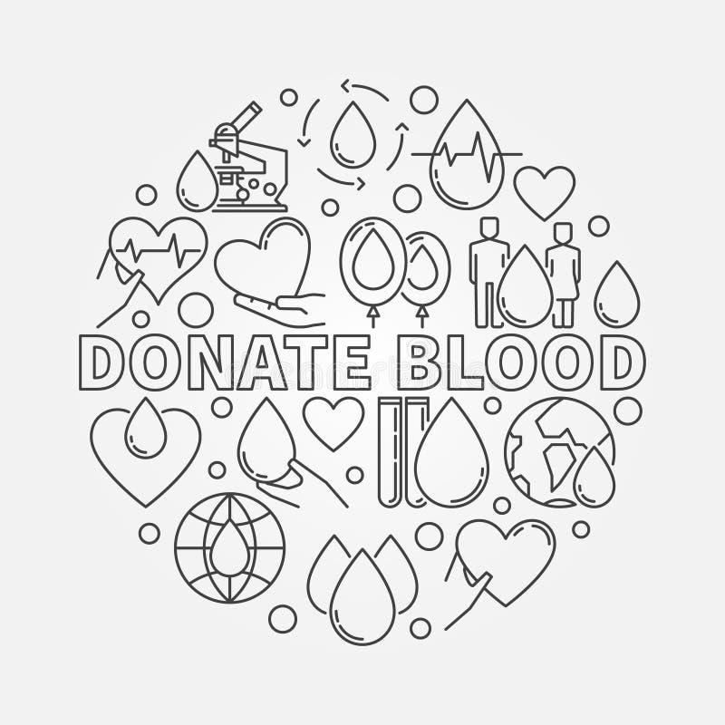 Donera den runda illustrationen för blod vektor illustrationer