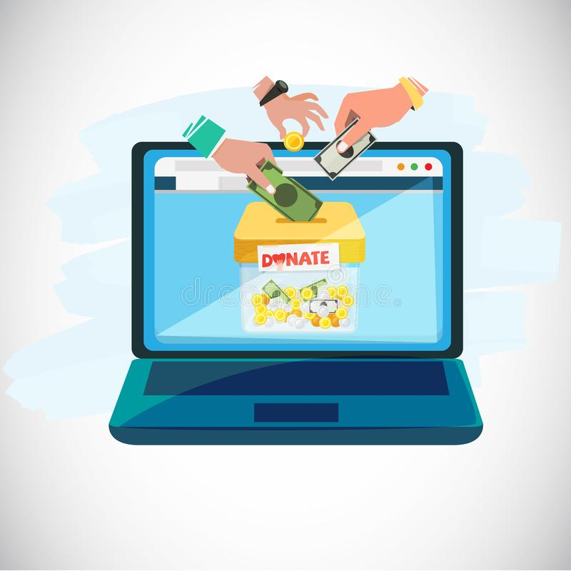 Donera direktanslutet begreppet folkhänder som in ger mynt och pengar till royaltyfri illustrationer