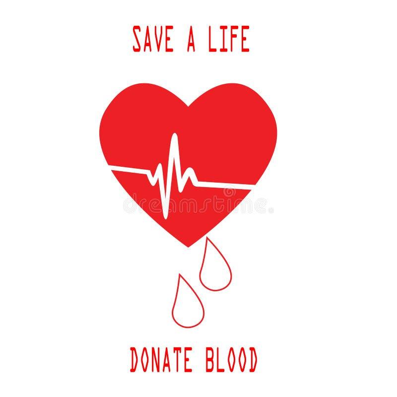 Donera droppe för den röda vektorn för blodräddningliv realistisk, och teckenräddningliv ger blod royaltyfri bild