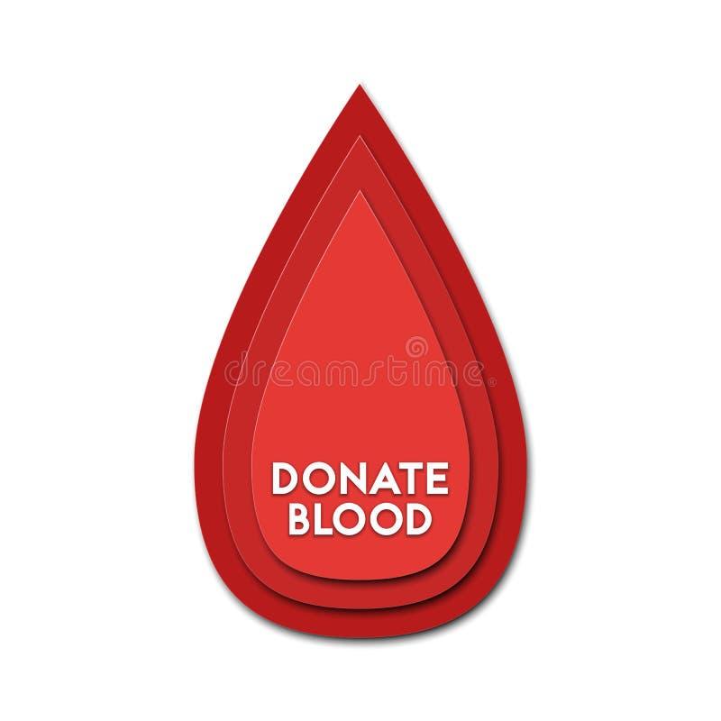 Donera för abstrakt begrepppapper för blod 3d illlustrationen för snittet av bloddroppe Färgrik mall för vektor, i att snida kons royaltyfri illustrationer