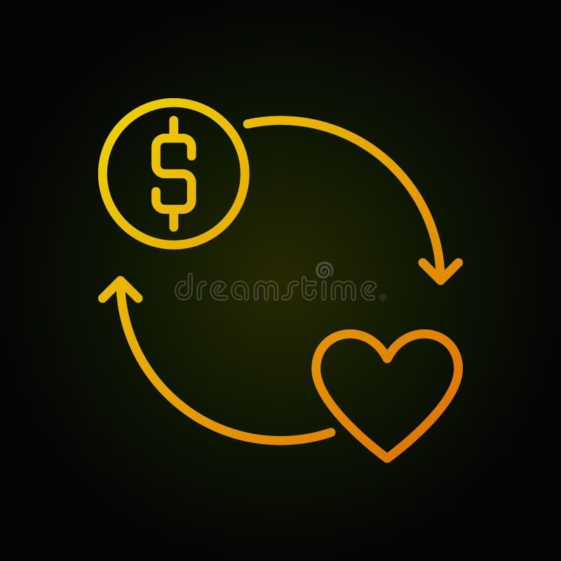 Donera för vektorrunda för pengar den gula symbolen eller tecknet för översikt vektor illustrationer