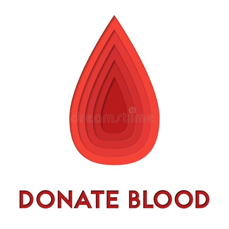 Donera illlustrationen för abstrakt begrepp för blod 3d klippta ut den papper av bloddroppe Färgrik mall för vektor, i att snida  royaltyfri illustrationer