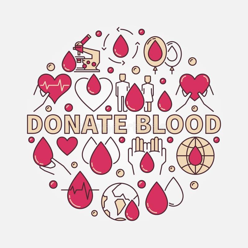 Donera illustrationen för blodlägenhetrundan stock illustrationer