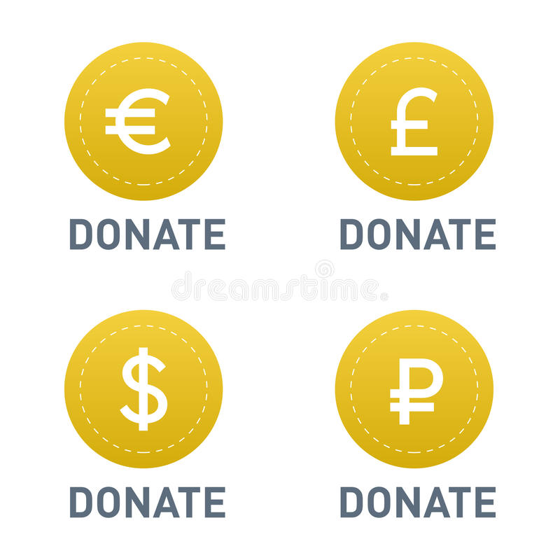 Donera knappar, tecknet för designen för service för gåvan för donation för symbolen för hjälp för vektoruppsättningillustratione stock illustrationer