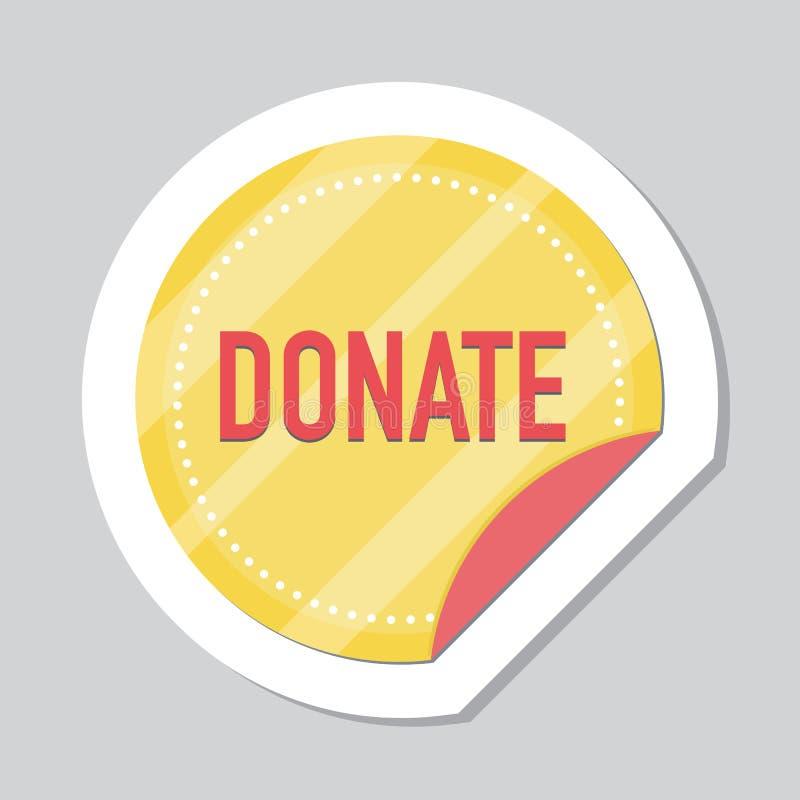 Donera knappen, klistermärke med det guld- myntet royaltyfri illustrationer