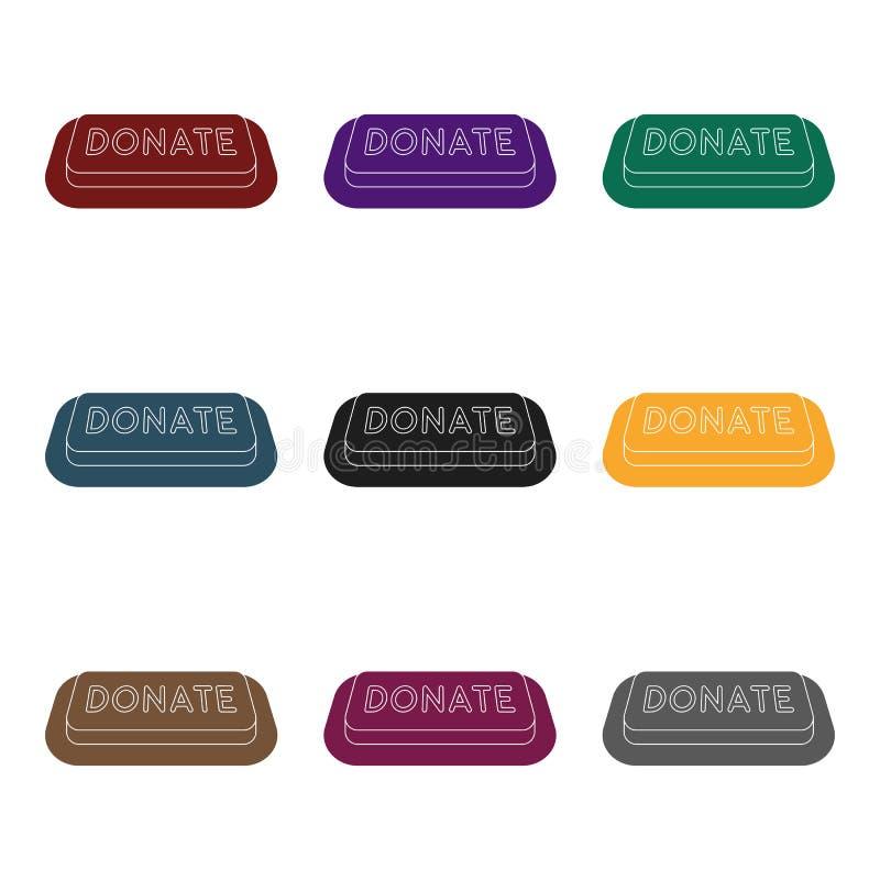 Donera knappsymbolen i svart stil som isoleras på vit bakgrund Illustration för vektor för välgörenhet- och donationsymbolmaterie royaltyfri illustrationer