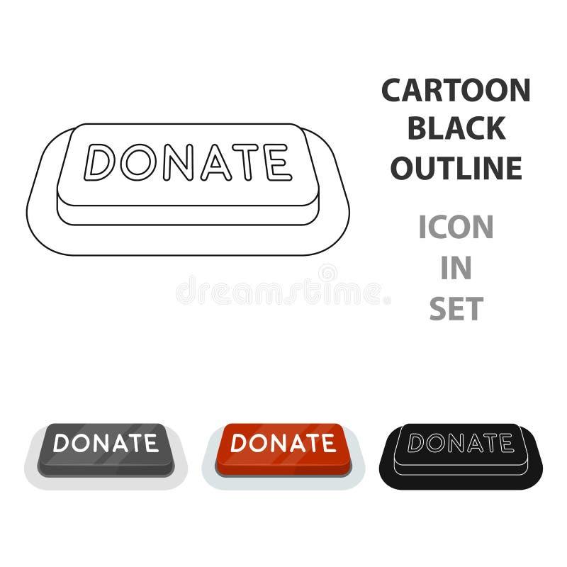 Donera knappsymbolen som isoleras in på vit bakgrund Illustration för vektor för välgörenhet- och donationsymbolmateriel stock illustrationer