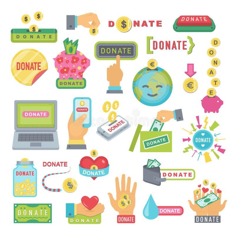 Donera knappuppsättningen Hjälpsymbolsdonation stock illustrationer