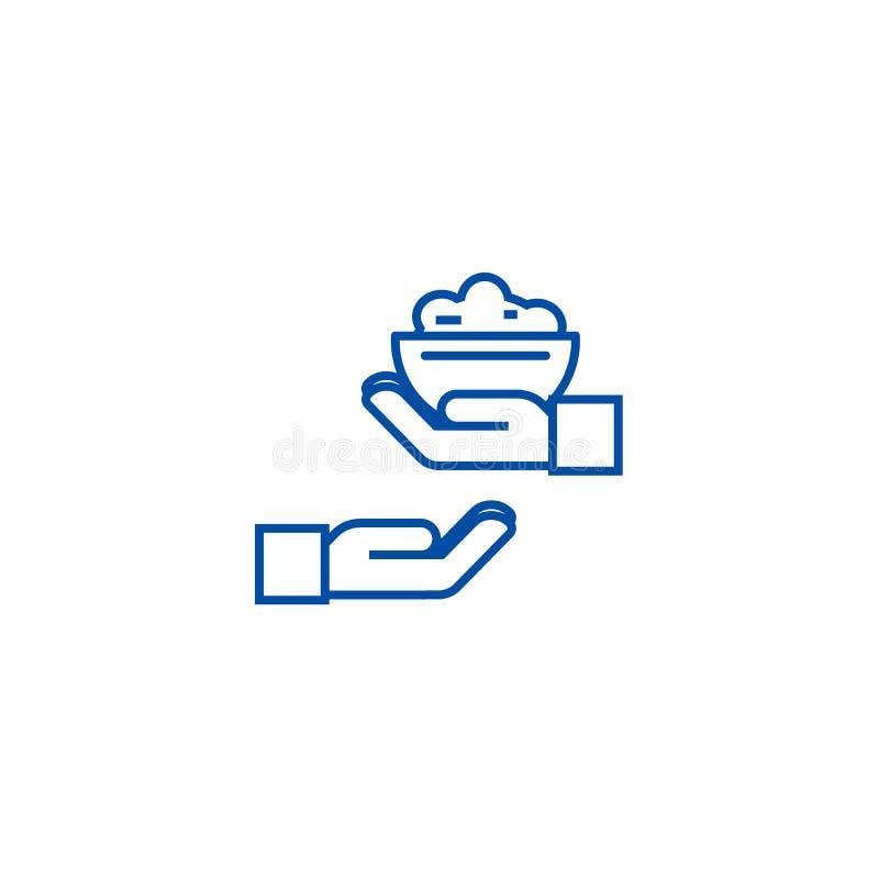 Donera matlinjen symbolsbegrepp Donera det plana vektorsymbolet för mat, tecknet, översiktsillustration stock illustrationer